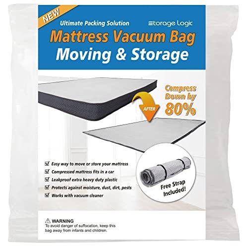 Queen/Full/Full-XL Foam Mattress Vacuum Bag for Moving, Vacuum Seal Mattress Bag with Straps