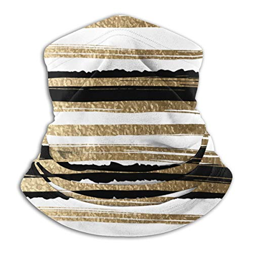 Calentador de Cuello de Microfibra Unisex Cepillo Dorado Patrón de Rayas Abstracto Pasamontañas Sombreros Bufanda para Polvo Viento Protección Solar