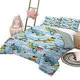 Juego de edredón para niños Juegos de ropa de cama para niños Aviones de dibujos animados y helicópteros gemelos en el aire entre las nubes Juguete de guardería Obra de arte King Size Azul y amarillo