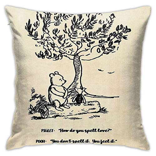 KIILA Winnie The Pooh - How Do You Spell Love Home Decorative Throw Pillow Cases Sofa Couch Cushion Throw Pillow Covers 18x18 Inch