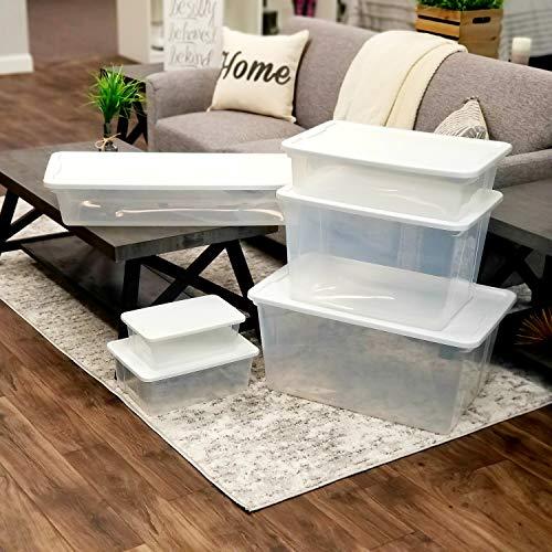 Homz Snaplock Clear Storage Bin with Lid, Large-41 Quart, White, 2 Pack
