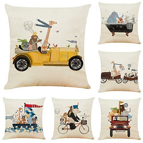 fundas cojin,Juego de 6 piezas de fundas de almohada de algodón y lino animal lindo y divertido, fundas de almohada de coche