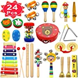 PETUOL Kids Musical Instruments, 24 PCS Christmas Musical Percussion Instrument Set for Toddlers, Xylophone Tambourine for Children Preschool Education, Kids Early Learning Musical Toys Backpack