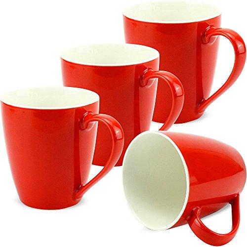 matches21 Tassen Becher Kaffeetassen Kaffeebecher Unifarben einfarbig rot Porzellan 4er 10 cm / 350 ml - ohne Tassenhalter