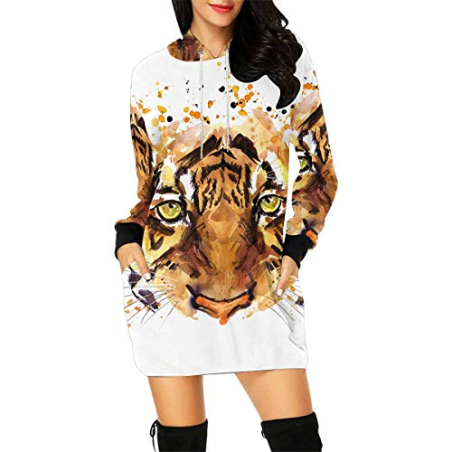 Cute Tiger Watercolor African Animals Tropical Nature Wildlife Women's Long Sleeve Hoodie Mini Dress Sweatshirt XX-Large