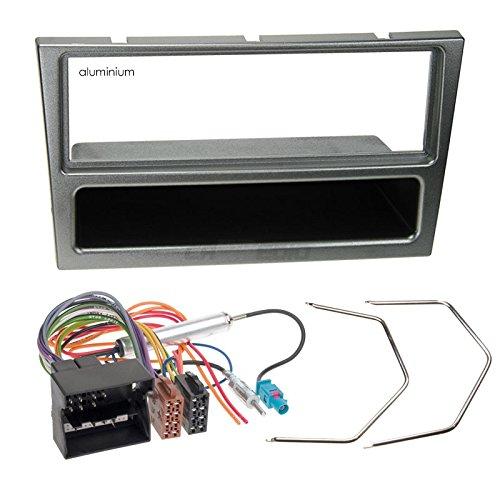 Carmedio Opel Corsa C 04-06 1-DIN Autoradio Einbauset in original Plug&Play Qualität mit Antennenadapter Radioanschlusskabel Zubehör und Radioblende Einbaurahmen Aluminium