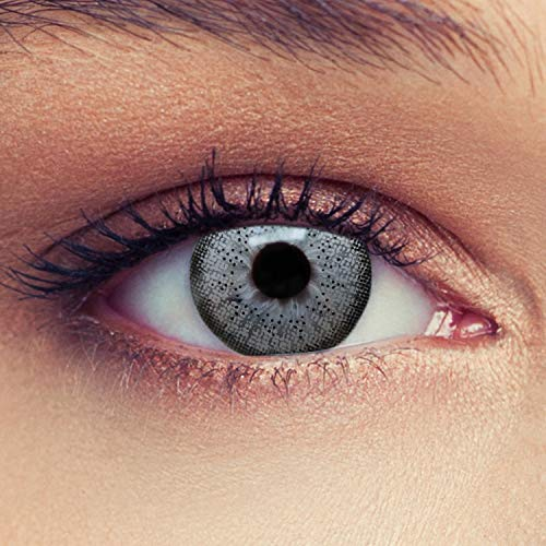 Designlenses 2 Graue Kontaktlinsen mit Stärke farbige Drei Monatslinsen für einen natürlichen Effekt, geeignet für dunkle Augen + Gratis Behälter