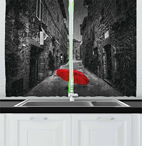 """Ambesonne Black and White Kitchen Curtains, Red Umbrella on a Dark Narrow Street in Tuscany Italy Rainy Winter, Window Drapes 2 Panel Set for Kitchen Cafe Decor, 55"""" X 39"""", Light Brown"""