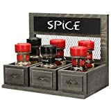 MyGift Vintage Gray Wood & Chicken Wire Kitchen Countertop Spice Condiment Holder Rack with Antique Drawer Style Design and Chalkboard Surface