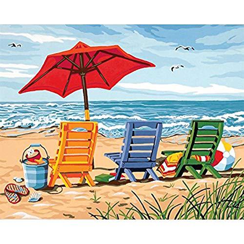 DIY Vorgedruckt Leinwand-Ölgemälde - Liegestuhl - Malen Nach Zahlen Geschenk Für Erwachsene Kinder Malen Nach Zahlen Kits Home Haus Dekor - 40X50 cm