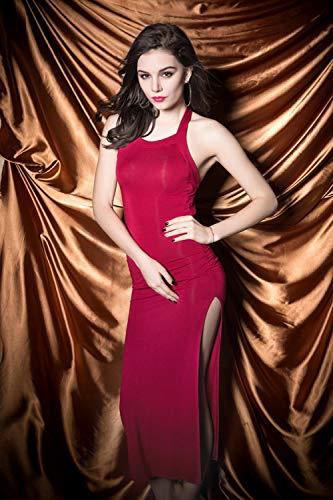 SexyCP Corsés para Mujer Ropa de Dormir para Mujer Club Nocturno lencería Sexy Ajustada Falda Larga Bolso Traje de Cadera Rojo Vino tamaño Libre