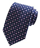 Men's Navy Blue Pink Floral Wholesale Groomsman Silk Ties Wedding Casual Necktie