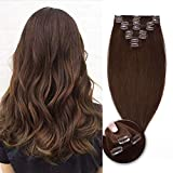 WYZQ Clip en Extensiones de Cabello Humano 10'75g # 04 Medium Brown 100% Remy Hair Extension Set 8pcs Cabello Liso para Cabeza Completa, Peluca