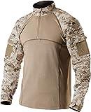 CQR Men's Combat Shirt Tactical 1/4 Zip Assault Long Sleeve Military BDU Shirts Camo EDC Top, Marine Desert, XX-Large