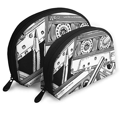 Shellfish Storage Bag Black Analogue with of Audio Cassette and Pencil White Draw Education Cluth Bag Fashion Storage Bag Toiletry Makeup Bag
