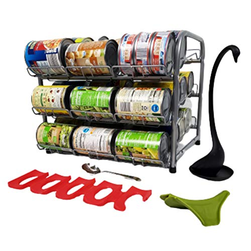 Clayole Stackable Can Rack Organizer, Holds Up To 36 Cans, Pantry Organization And Storage, Easy Assembly, Made Out Of Heavy Duty Metal With Silver Matte Finish. Includes Convenient Soup Serving Tools