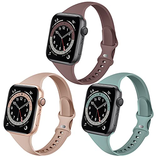 QRose Bands Compatible with Apple Watch 38mm 40mm, 3 Pack Slim Thin Narrow Replacement Silicone Sport Strap for iWatch Series SE 1/2/3/4/5/6, Milk Tea/Smoke Violet/Cactus 38mm/40mm