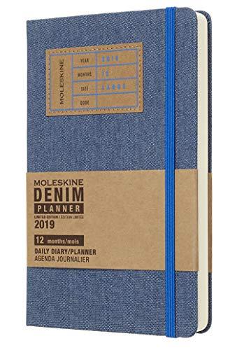 (modello precedente) - Moleskine 2019 Agenda Giornaliera Denim 12 Mesi, in Edizione Limitata, Large, Blu - 21 x 1.3 cm