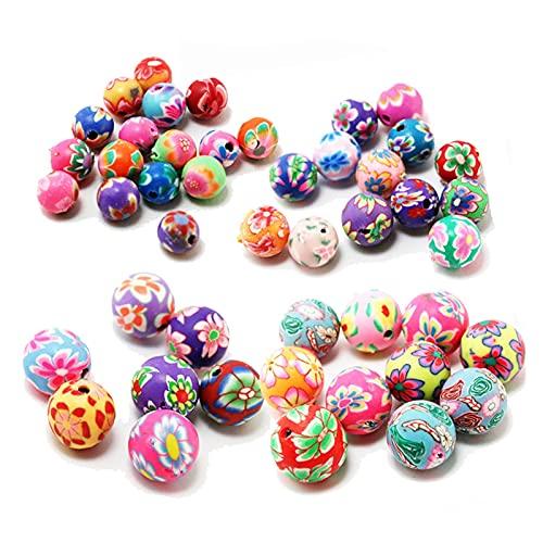 Zz0 10-20pcs / lote 6 8 10 12mm Polímero Beads de arcilla de impresión Patrón de flores redondo Perlas sueltas Color de mezcla para la fabricación de joyas Tl0428 ( Item Diameter : 6mm about 20Pcs )