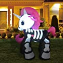 GOOSH 6ft Halloween Decorations Inflatables Skeleton Unicorn
