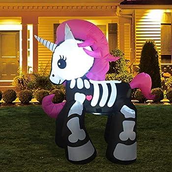 GOOSH 6ft Halloween Decorations Inflatables Skeleton Unicorn