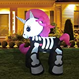 GOOSH 6FT Inflatable Halloween Decorations Inflatables Skeleton Unicorn,Blow Up Skeleton Unicorn Halloween Outdoor Yard Decorations
