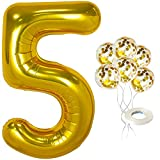 Giant Number 5 Balloon Gold for 5th Birthdays - 40 Inch...