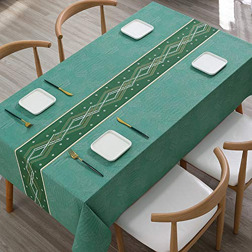 DRTWE Wipeable PVC Tablecloth Rectangle Solid Green Diamond Table Runner Stain-Proof Tabletop Protective&Amp;Decorative Table Cover for Kitchen Party Garden,140 * 200Cm