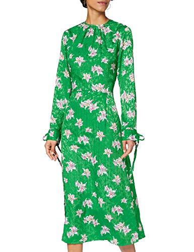 Marchio Amazon - find. Vestito Jacquard con Spacco Donna, Verde (Green), 40, Label: XS