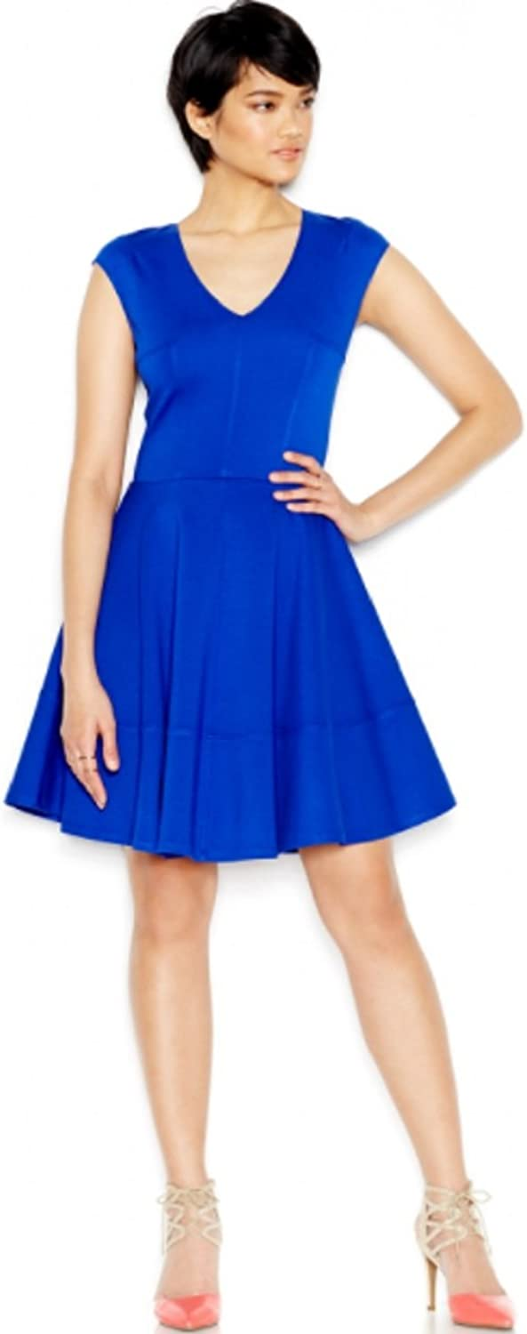 BAR III  80 New 1504 bluee V Neck Cap Sleeve Fit + Flare Dress Petites S B+B