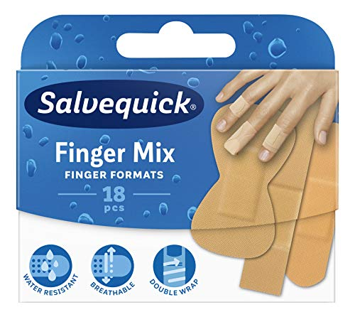 Salvequick ® | Finger Mix Aqua Resist | Wasser- und schmutzabweisend Flexible Pflaster in verschiedenen Formaten für perfekte Passform und Anpassung an alle Handfinger | Pack 18 Einheiten