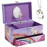 SONGMICS Caja de música, joyero, bailarina, caja de música con cajón, ruedas para anillos y varios compartimentos, melodía de unicornio, color lila JMC012P02, 19 x 11 x 11 cm