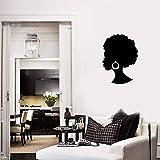 HFDHFH Calcomanías de Pared de niña Africana Hermosa Dama Negra salón de Belleza Pendientes de Pelo decoración Mural Dormitorio Moderno Pegatinas de Pared de Vinilo