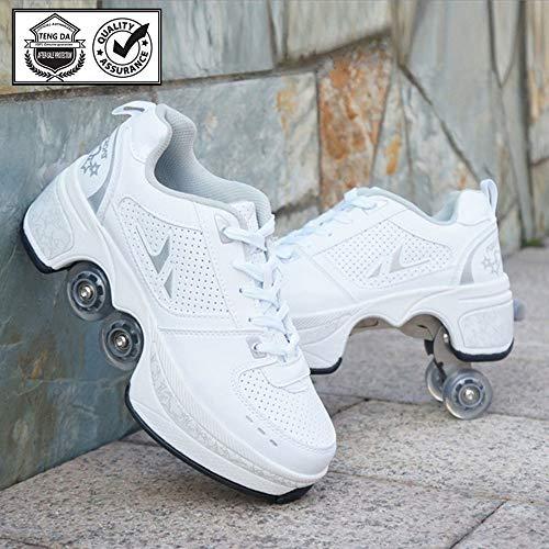 Rolschaatsen Voor Dames Inline-skate 2-in-1 Multifunctionele Schoenen Verstelbare Quad-rolschaatsen Laarzen Dubbele Rij Vervormingsschoenen Voor Unisex Beginnersgeschenk,Whitesilver-43
