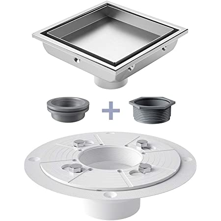 USHOWER 4 Inch Brushed Square Shower Drain with Drain Flange Kit, Tile-insert & Flat Cover 2-in-1, 304 Stainless Steel