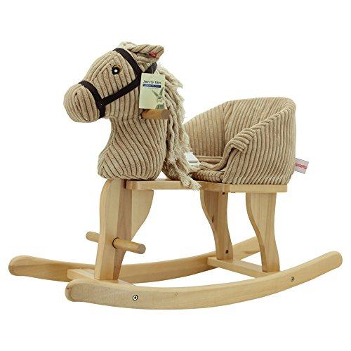 Sweety Toys- Plüsch 7080 Cheval à Bascule en Velours Beige avec Sons de Galop et Hongrois