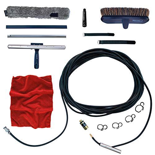 FenWi Nachrüst-Set für Profi ALU Teleskopstange in Wasserteleskopstange mit Schlauchanschluss Waschbürste & Kombi-Fensterwischer wasserführend