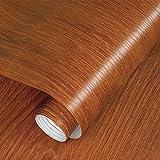Fantasnight Vinilos Para Muebles Grano de Madera Rojo MarróN Papel Adhesivo para Muebles 40×300cm...