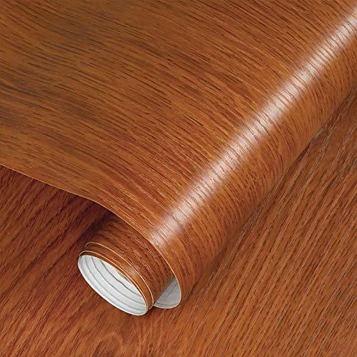 Fantasnight Vinilos para Muebles Grano de Madera Rojo MarróN Papel Adhesivo para Muebles 40×300cm Rollo Vinilo Autoadhesivo Papel para Escritorios, Encimeras, Superficies de Muebles