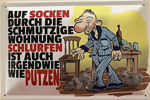 Deko7 blikken bord 30 x 20 cm Comic: Op sokken door de vuile woning slurfen is ook wel poetsen