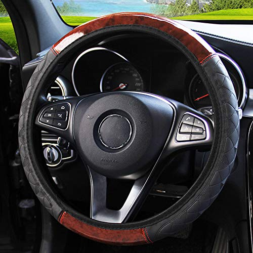 Xnhgfa Microfiber Leather Car Steering Wheel Cover Universal 37-38CM Breathable Anti-Slip Protector for Auto Truck SUV,Black