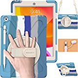 BRAECN iPad 8th Generation Case 2020 , Rugged Shockproof Case with Screen Protector, Pencil Holder, Pencil Cap Holder, Hand Strap, Stand, Shoulder Strap for iPad 8/7 Gen 10.2 ' 2020/2019-Rainbow Blue
