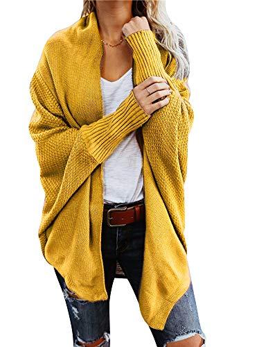 Damen Strickjacke Winter Herbst War Gestrickt Poncho Langarm Asymmetrisch Warm Elegant Locker Oversive Kimono Cardigan Mantel Strickwaren Gelb