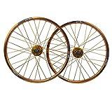 MZPWJD 20 Zoll BMX Fahrradfelge Fahrrad Laufradsatz Double Layer Alufelge Scheibenbremse Schnelle Veröffentlichung 7 8 9 10 Geschwindigkeit 32H (Color : Gold, Size : 20in)