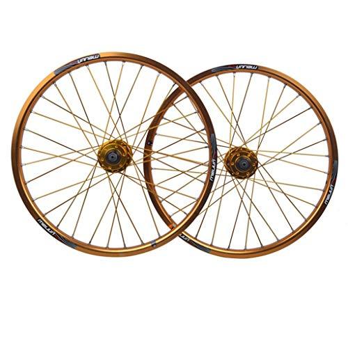 MZPWJD Ruota per Bicicletta BMX da 20 Pollici Set di Ruote per Bici Cerchio in Lega A Doppio Strato Freno A Disco Rilascio Rapido 7 8 9 10 velocità 32H (Color : Gold, Size : 20in)