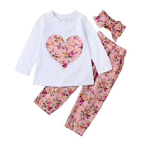 SMARTLADY Ropa Bebe Niña Invierno Otoño de 0 a 24 Meses Bebé Niñas Camisetas de Manga Larga y Pantalones de Flores + Vendas de Pelo Conjunto de Ropa (0-6 Meses, Rosa)