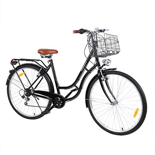 Yonntech 28\'\' Zoll Stadtrad Damen Männlich Holland Fahrrad Citybike Rad 7 Geschwindigkeiten Zahnräder (Schwarz)