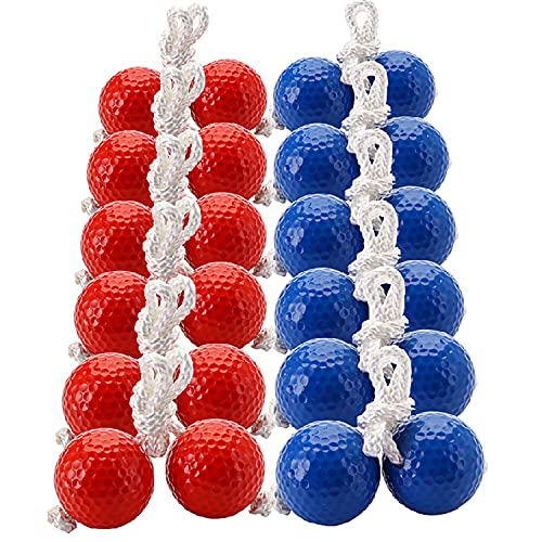 Cedilis 12 Pair Ladder Balls Replacement for Toss Match Golf Game Set Ladder Ball Bolas, Made from Real Golf Ball (6 Red + 6 Blue)