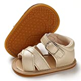 BENHERO Baby Toddler Infant Girls PU Leather Soft Sole Closed Toe Anti-Slip Summer Sandals Flower Princess Flat Shoes(12-18 Months Toddler E-Gold)
