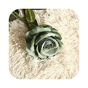 50cm Large Red Artificial Rose Branch Fake Rose Flowers Bouquet Flannel Fabric White Floral Crafts for Wedding Home Party Decor-Elegant Blue